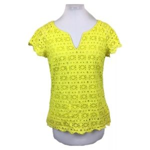 J Crew Collection Sz 6 Yellow eyelet blouse top